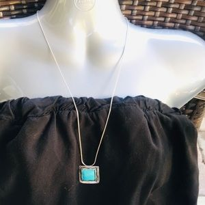 Silpada Square Turquoise Sterling Silver Necklace